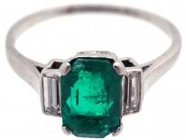 Art Deco Rectangular Emerald & Baguette Diamond Ring