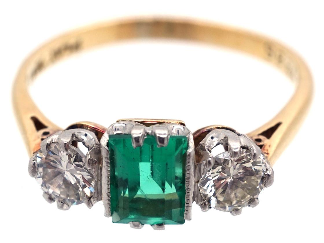 Art Deco Emerald & Diamond Three Stone Ring
