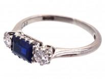 Art Deco Three Stone Sapphire & Diamond Ring