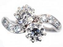 Edwardian Two Stone Diamond Crossover Ring with Diamond Shoulders