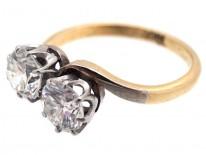 Edwardian 18ct White Gold, Two Stone Diamond Crossover Ring