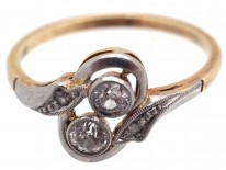 Art Deco Two Stone Diamond Crossover Ring with Diamond Shoulders