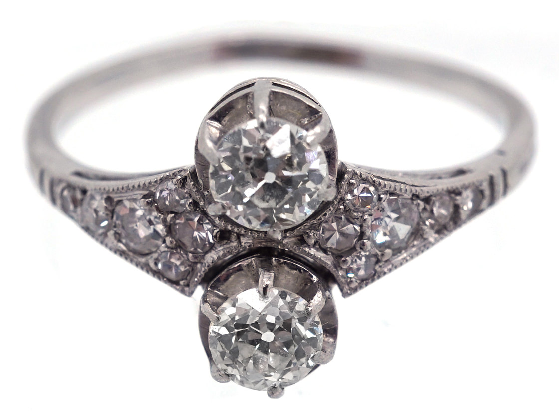 Art Deco Two Stone Diamond Ring with Tapered Diamond Shoulders