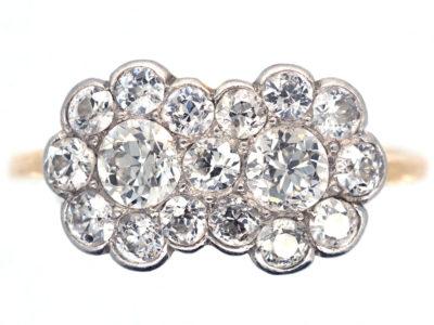 Edwardian 18ct Gold & Platinum Double Diamond Cluster Ring