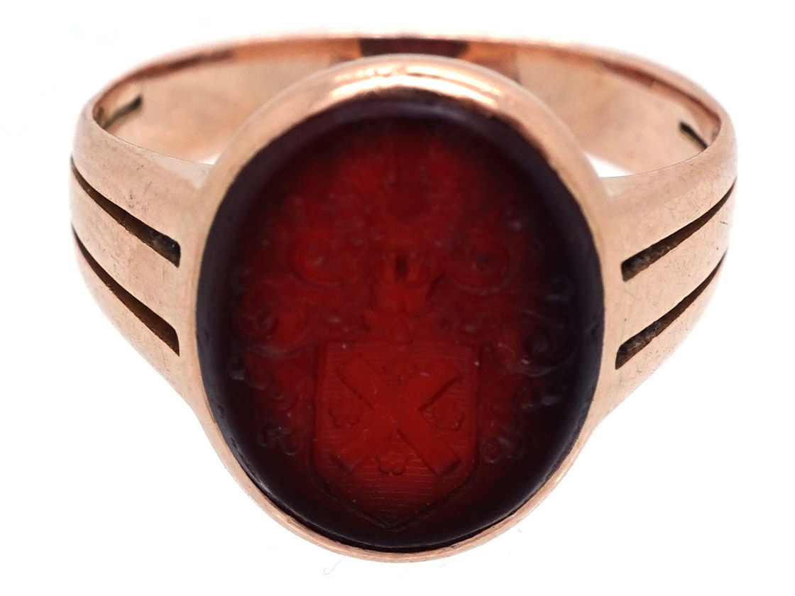 Victorian Gold & Carnelian Signet Ring with Crest Intaglio