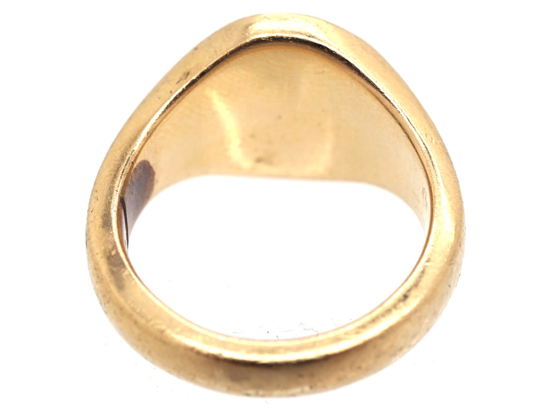 18ct Gold Signet Ring with Lion & Crown Intaglio
