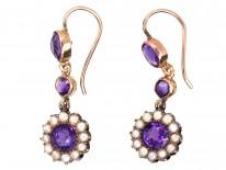Edwardian 15ct Gold, Amethyst & Natural Split Pearl Cluster Drop Earrings