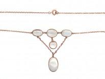Edwardian 9ct Gold & Moonstone Necklace