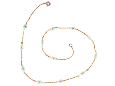 Edwardian 15ct Gold, Opal & Rock Crystal Chain