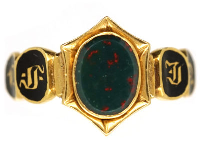 William IV Bloodstone & Enamel Memorial Ring