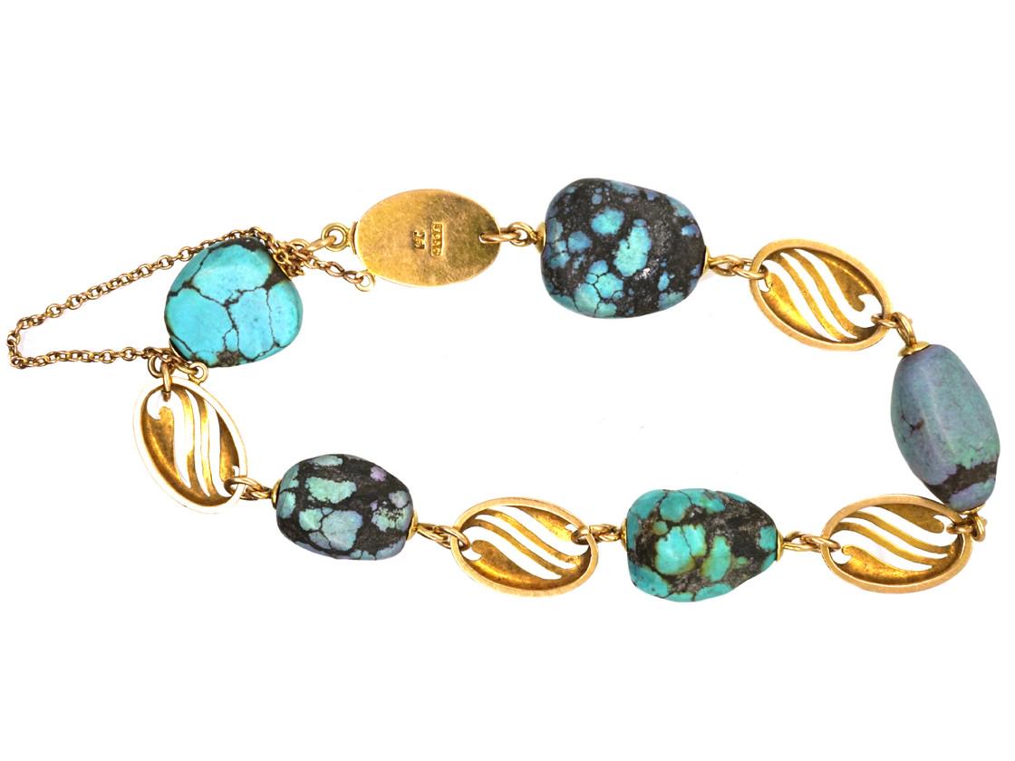 Art Nouveau 15ct Gold & Turquoise Matrix Bracelet