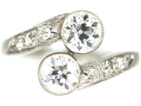 Art Deco 14ct White Gold Two Stone Diamond Crossover Ring