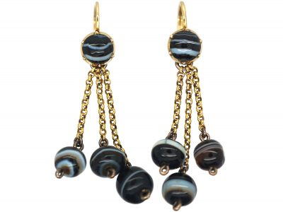 Georgian 18ct Gold & Banded Onyx Drop Earrings