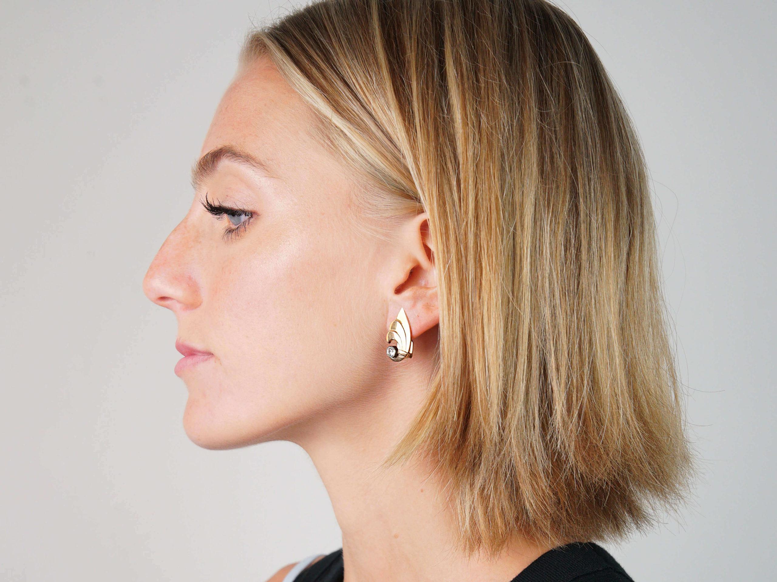 Art Deco 18ct Gold & Diamond Clip On Wing Shaped Earrings