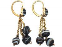 Georgian 18ct Gold & Banded Onyx Drop Earrings
