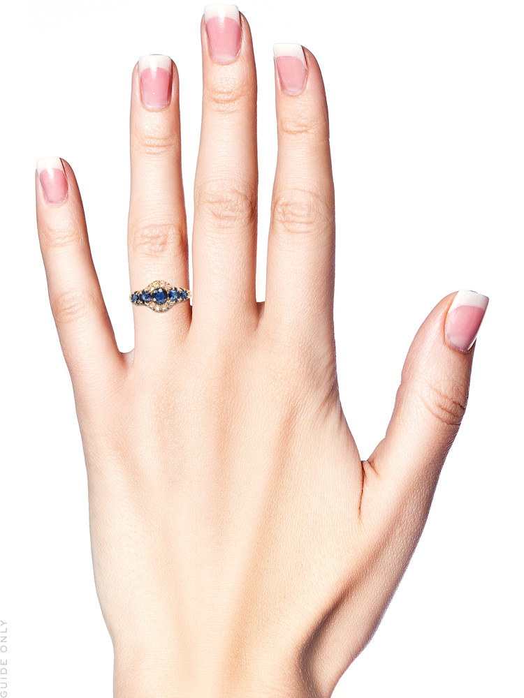 Edwardian 18ct Gold, Five Stone Sapphire & Diamond Ring