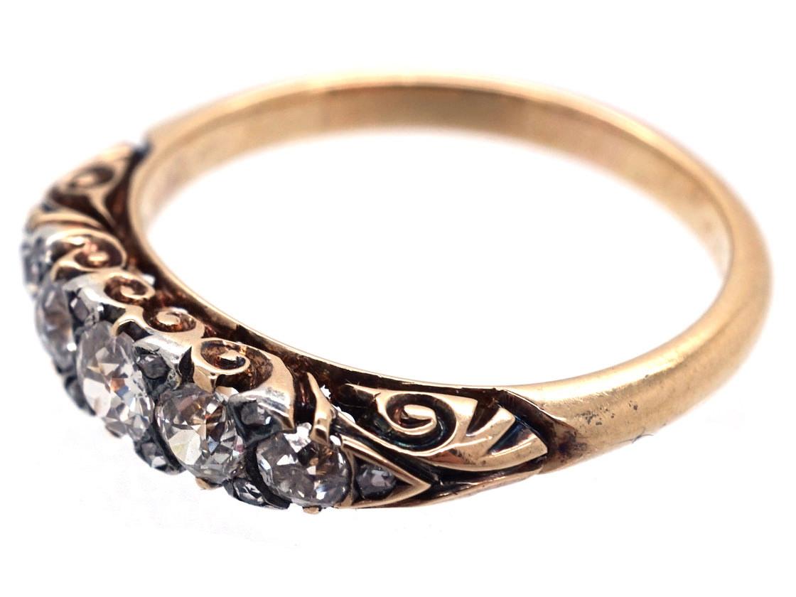 Victorian 18ct Gold & Diamond Five Stone Ring