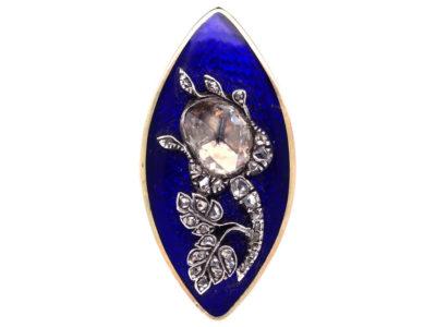 Georgian Large Rose Diamond & Royal Blue Enamel Rose Ring