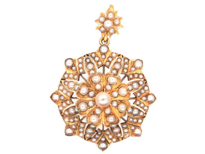 Victorian 18ct Gold & Natural Pearl Flower Pendant
