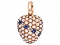 Edwardian Sapphire, Diamond & Split Pearl Heart Shaped Pendant with Locket Back