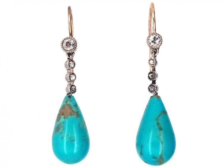 Edwardian Diamond & Pear Shaped Turquoise Drop Earrings