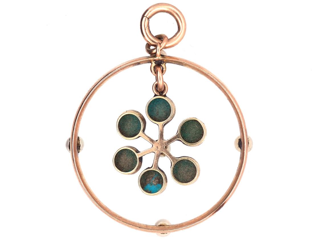 Edwardian 15ct Gold Round Turquoise, Enamel & Pearl Pendant