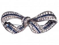 Art Deco Silver & Blue & White Paste Bow Brooch