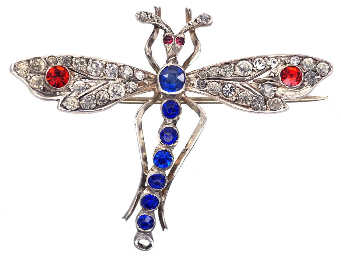 Edwardian Silver & Paste Dragonfly Brooch