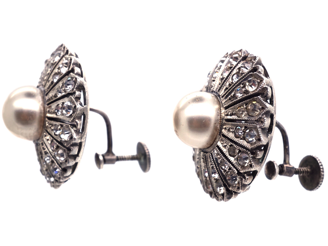 Large Silver & Paste Screw On Flower Earrings