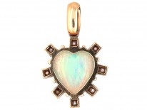 18ct Gold, Opal & Diamond Heart Shaped Pendant