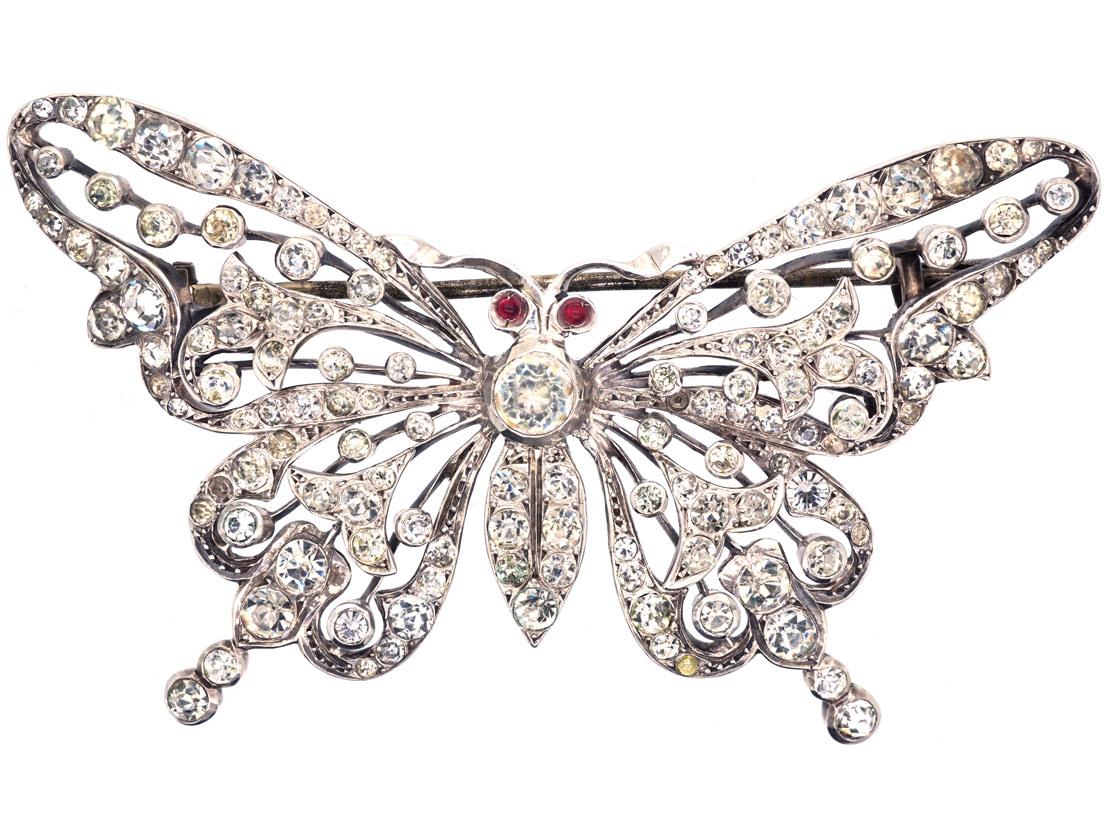 Large Edwardian Silver & Paste Butterfly Brooch