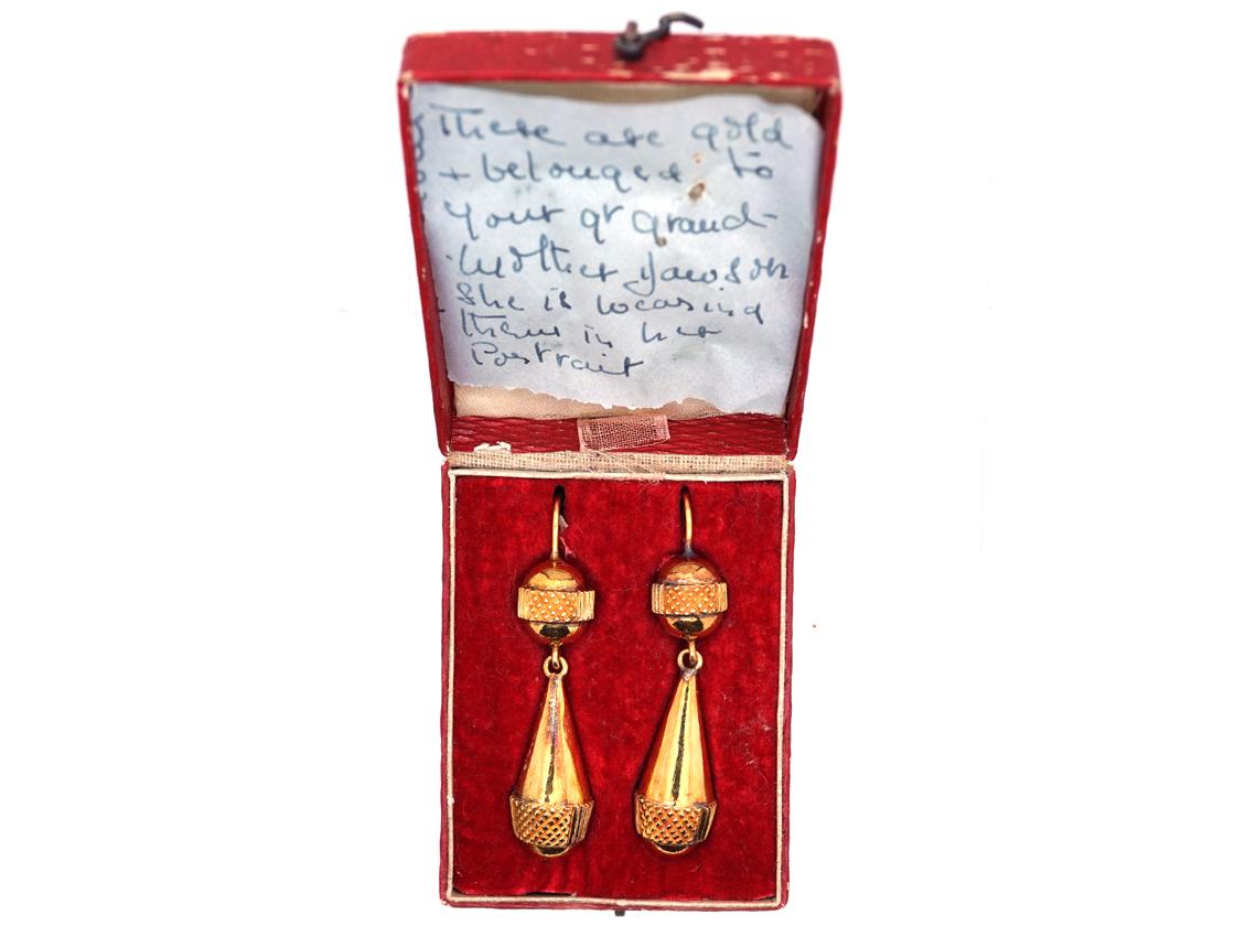 Georgian 18ct Gold Drop Earrings in Original Case