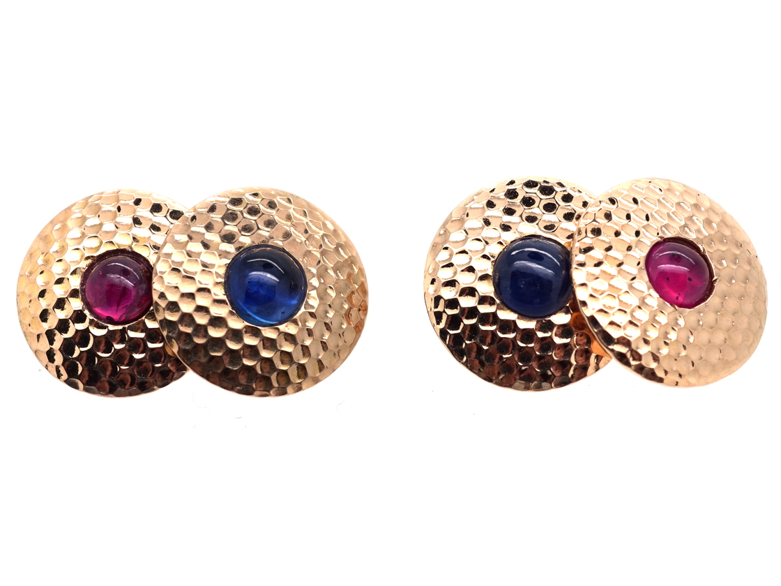 Edwardian 18ct Hammered Gold Round Cufflinks Set With Cabochon Sapphires & Rubies
