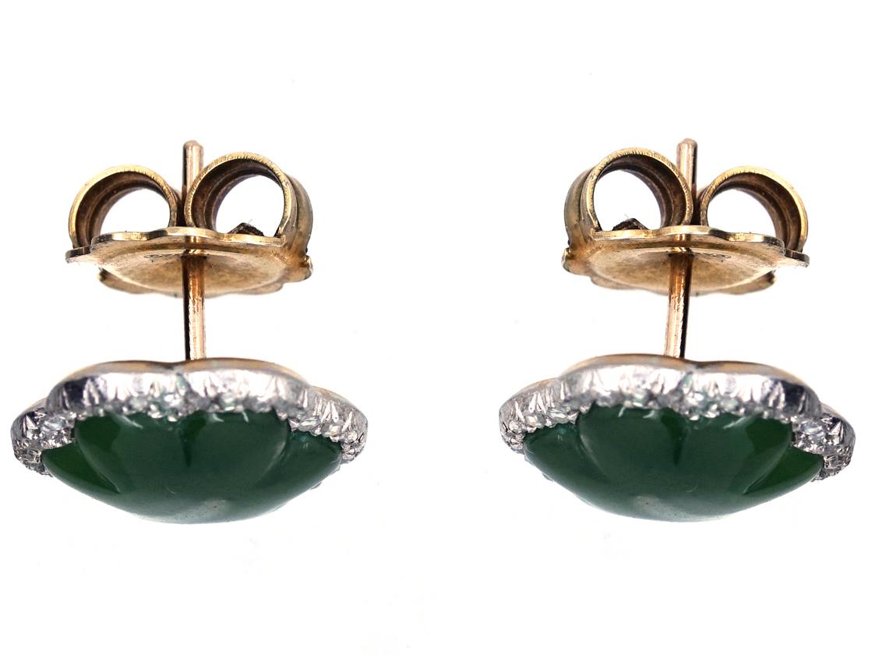 Edwardian Nephrite & Diamond Scalloped Edge Earrings