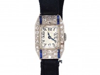 Art Deco Platinum, Sapphire & Diamond Watch