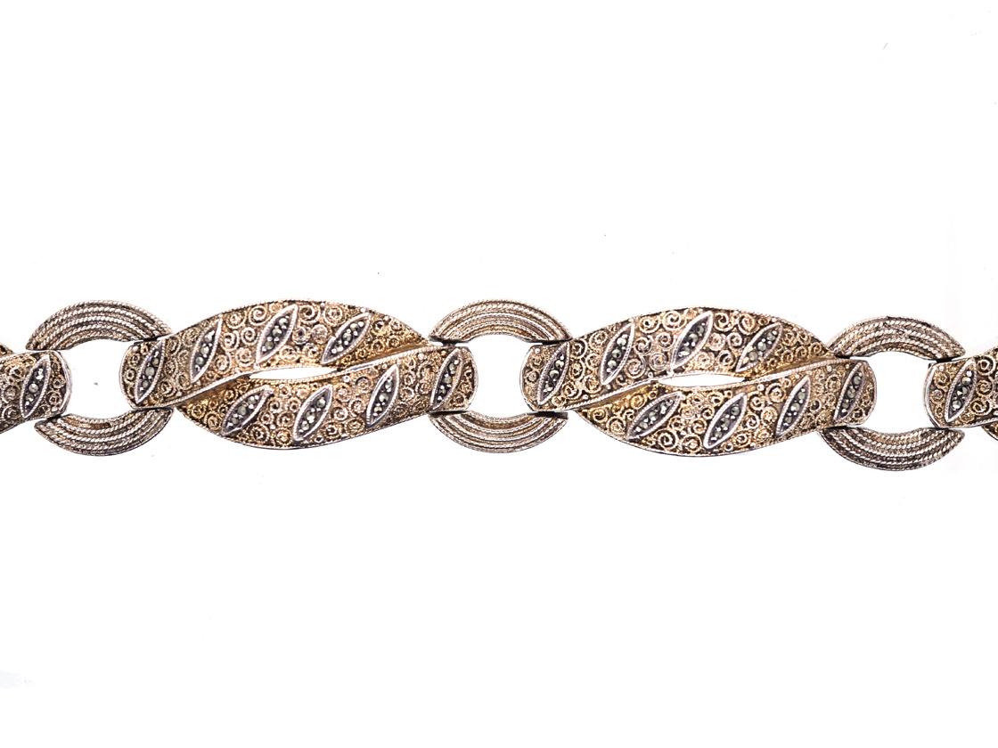 Theodor Farhner Art Deco Silver Gilt & Marcasite Bracelet