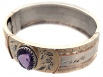 Victorian Silver & Gold Overlay Bangle with Amethyst Centre