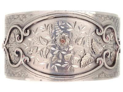 Victorian Silver Applied Rose Design Bangle