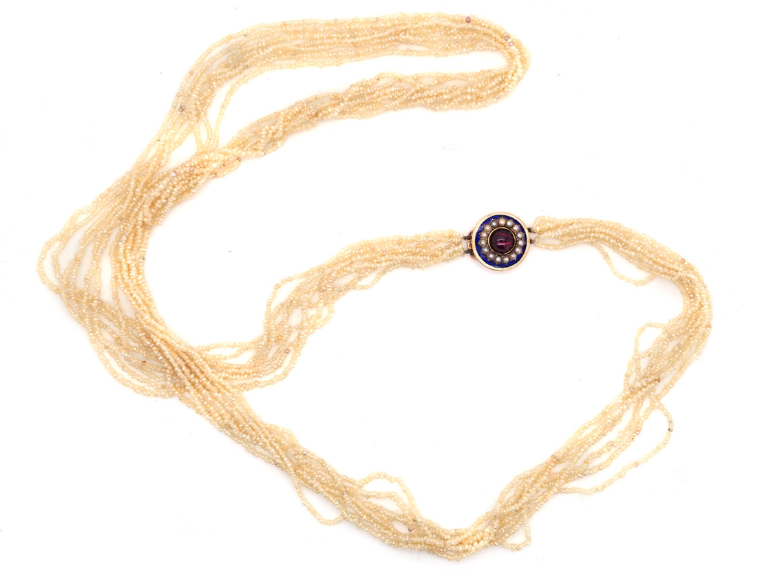 Georgian Seven Strand Seed Pearl Necklace with Gold & Cabochon Garnet Clasp