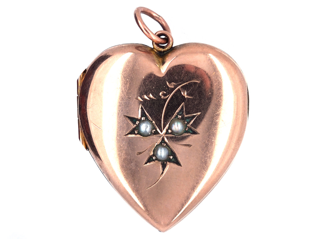 Rose Gold Edwardian Heart Shaped Locket with three Natural Split Pearls
