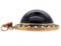 Victorian 18ct Gold, Large Domed Banded Onyx & Natural Split Pearl Pendant