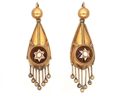 Victorian Etruscan Revival 15ct Gold Drop Star & Tassle Earrings