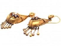 Victorian Etruscan Revival 15ct Gold Drop Star & Tassle Earrings