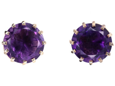 9ct Gold & Amethyst Round Stud Earrings