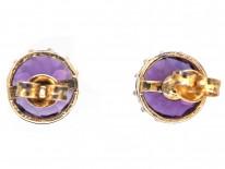 9ct Gold & Amethyst Round Stud Earrings