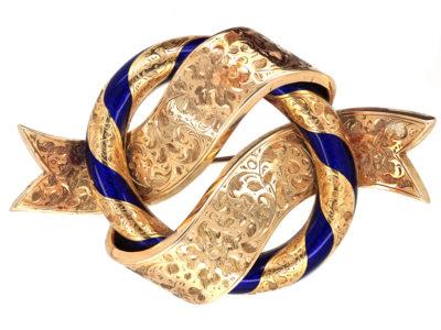 Victorian Large 18ct Gold & Royal Blue Enamel Garter Brooch