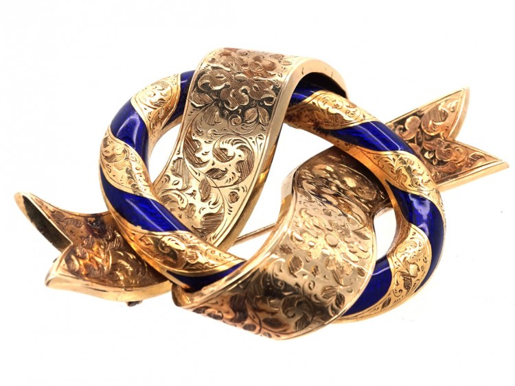 Victorian Large 18ct Gold Amp Royal Blue Enamel Garter