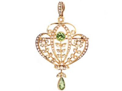 Edwardian 15ct Gold, Peridot & Natural Split Pearl Pendant / Brooch