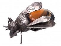Victorian Silver & Smokey Quartz Bee Brooch
