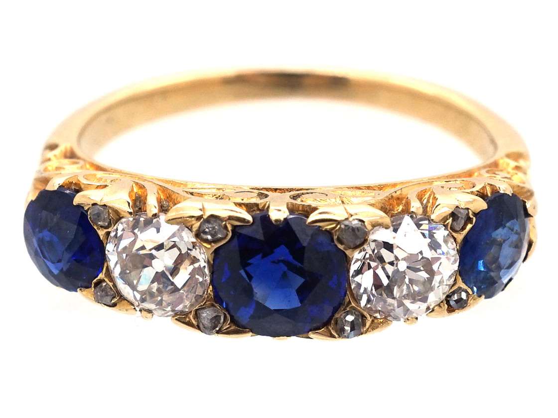 Victorian 18ct Gold, Sapphire & Diamond Carved Half Hoop Ring